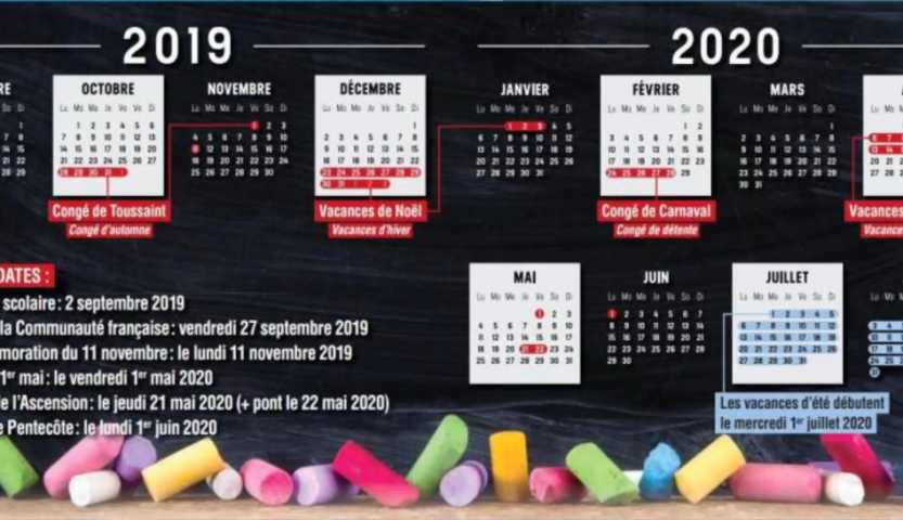 Calendrier Scolaire Mai 2020.Voici Les Dates Des Conges Et Vacances Scolaires Pour 2019